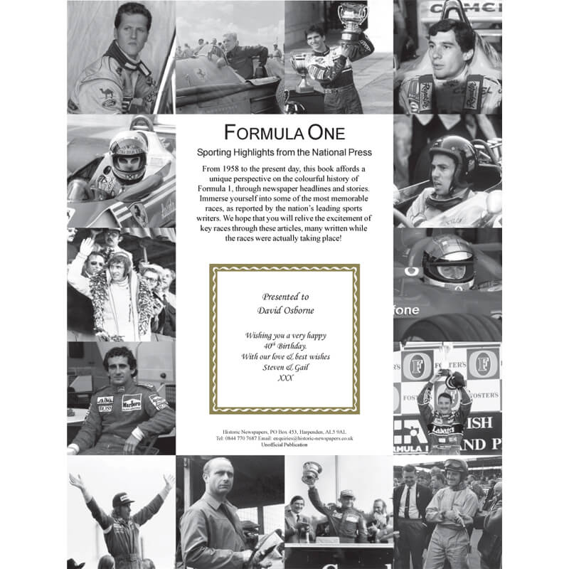 Personalised Formula 1 Newspaper Book