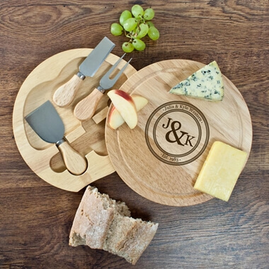 Personalised Couples Monogram Cheese Board Set