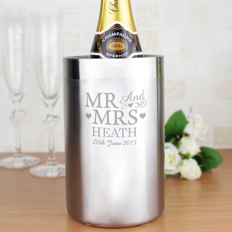 Personalised Stainless Steel Wine Cooler - Mr & Mrs - Buy from Prezzybox.com