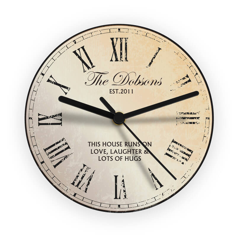 Personalised Rustic Glass Clock - Buy from Prezzybox.com