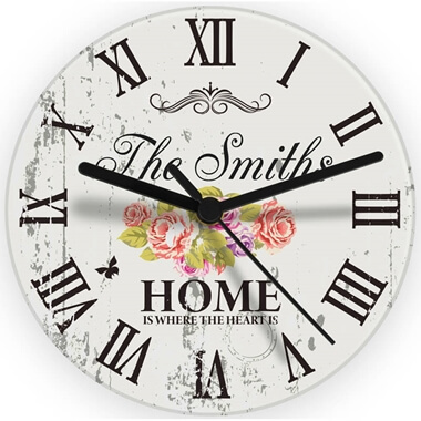 Personalised Shabby Chic Glass Clock