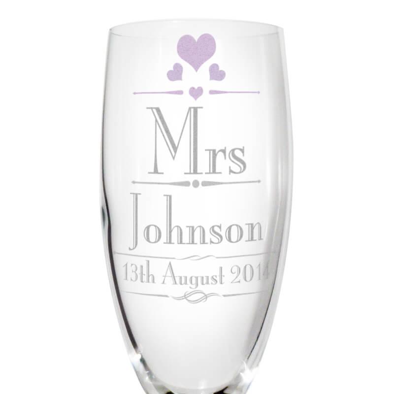 Personalised Mr & Mrs Wedding Flutes
