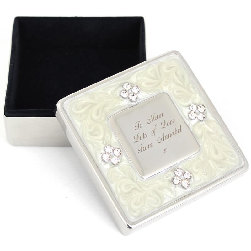 Personalised Square Diamante Trinket Box