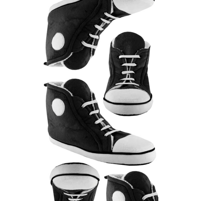 Mens High Top Trainer Slippers - Black