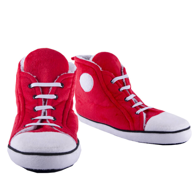 Womens High Top Trainer Slippers - Red