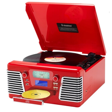 Steepletone 1960's Roxy 3CD Encode Retro Music System - Red