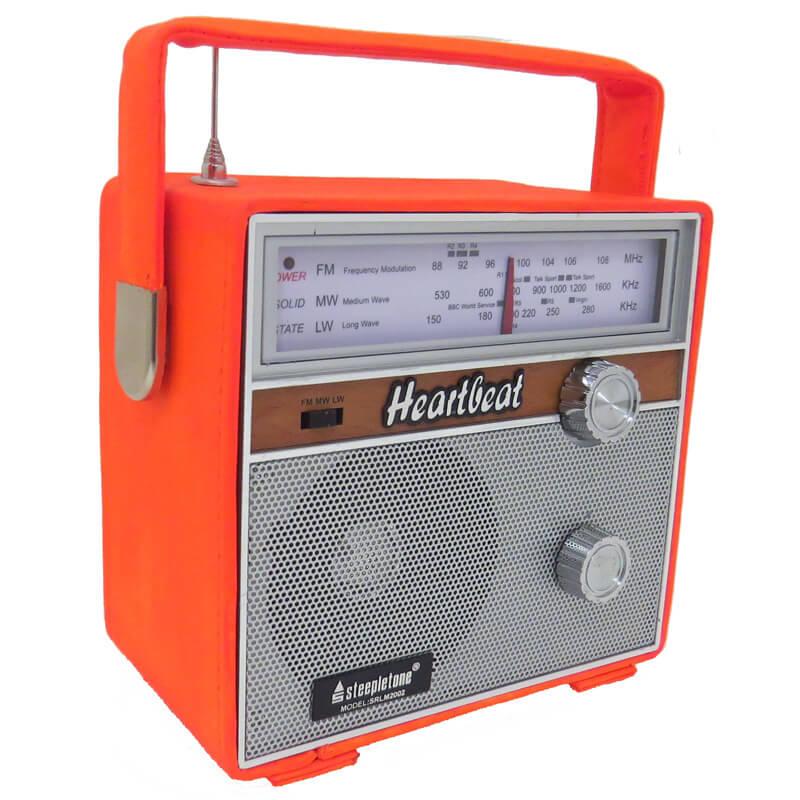 Steepletone Heartbeat 1960s Retro Style Portable Radio - Orange
