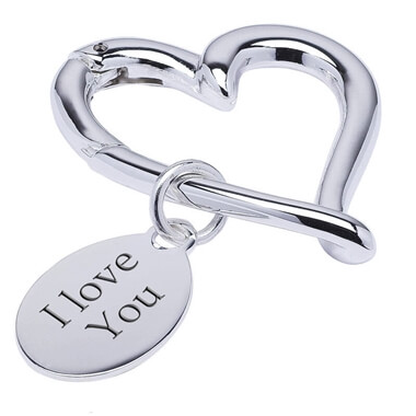 Personalised Silver Plated Beating Heart Keyring
