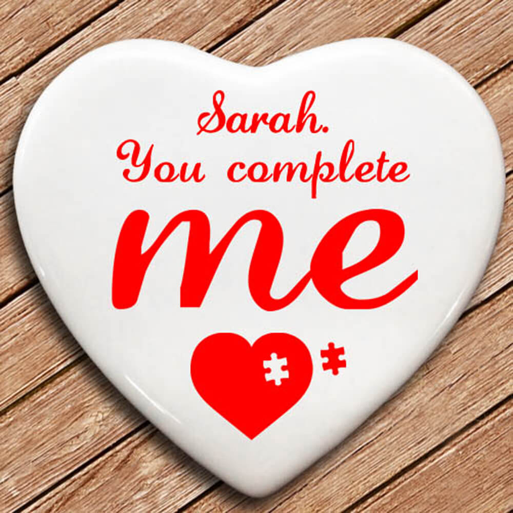 Personalised You Complete Me Heart Keepsake