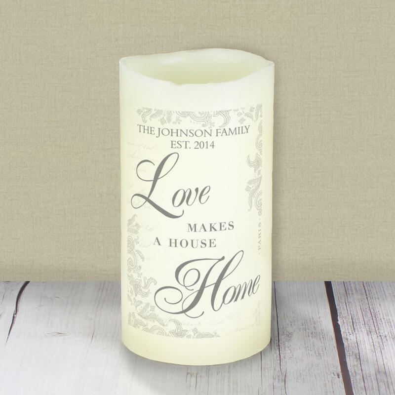personalised love makes a home led candle buy from prezzybox com