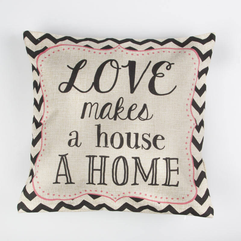 Love Makes a House a Home Chevron Retro Cushion