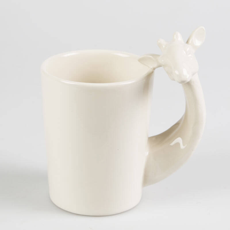 White Giraffe Shaped Handle Mug