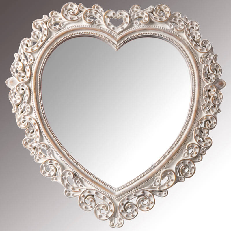 Whitewash Heart Shaped Mirror
