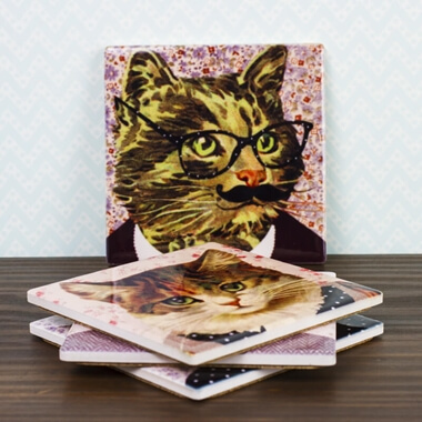 Cat Dress Up Coasters - Set Of 4