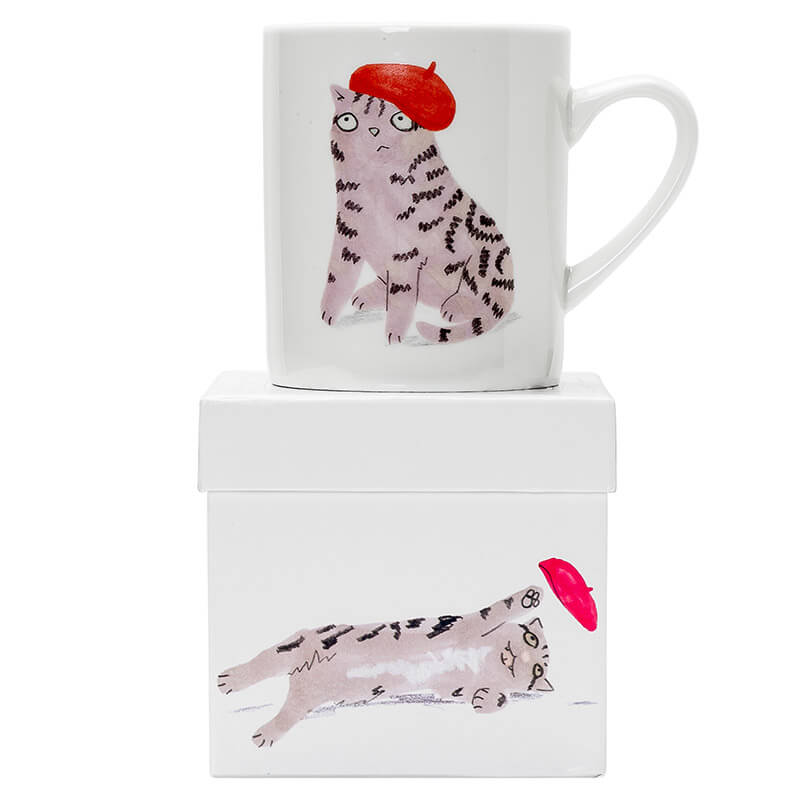 Cats & Hats Big Mug - Tabby In A Beret