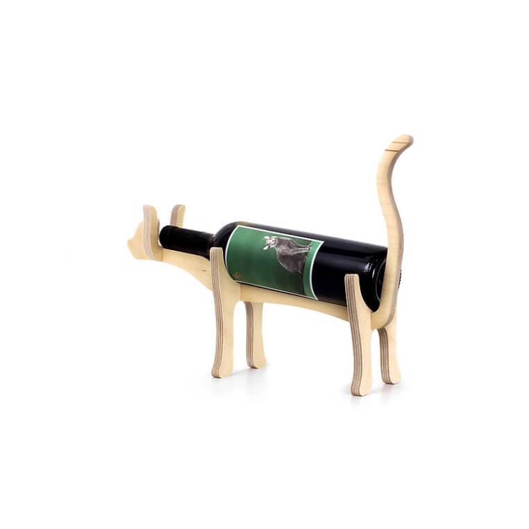 Animal Bones Wooden Bottle Holder - Cat