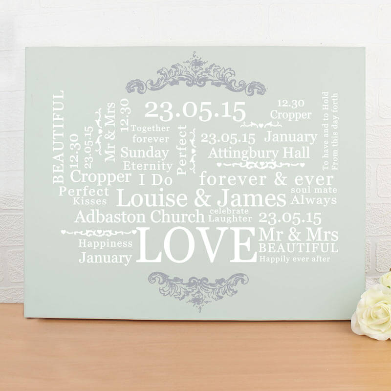 Personalised Wedding Typographic Canvas