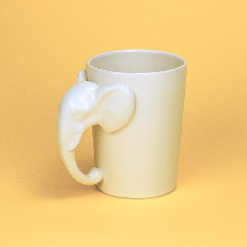 White Elephant Shaped Handle Mug Buy From