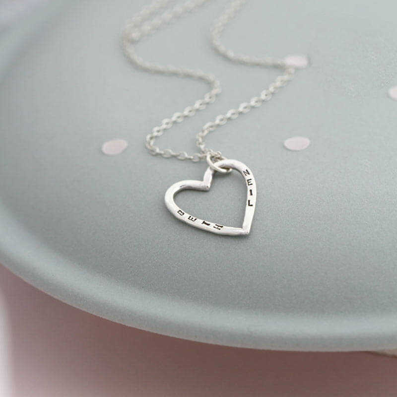 Personalised Small Open Heart Necklace