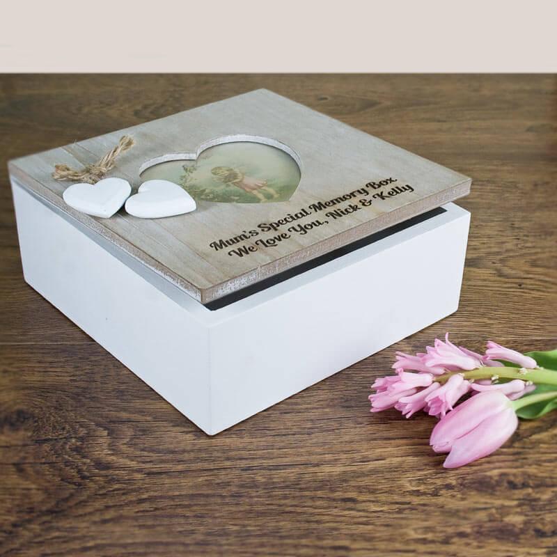Personalised Rustic Heart Frame Memory Box