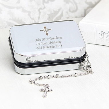 Personalised Rosary Beads And Cross Pendant Box