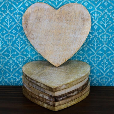 Heart Shaped Wooden Coaster Set