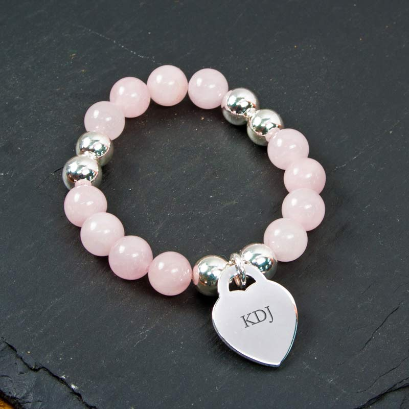 Personalised Rose Quartz Bracelet