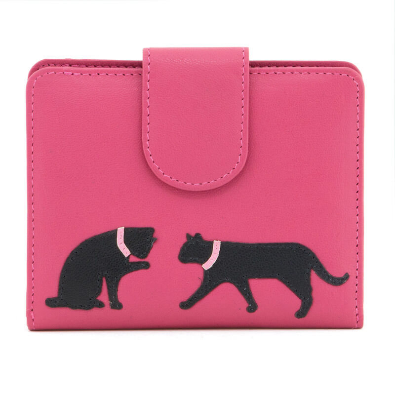 Pink Leather Cat Purse