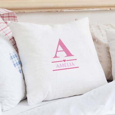 Personalised Initial Cushion Cover - Pink
