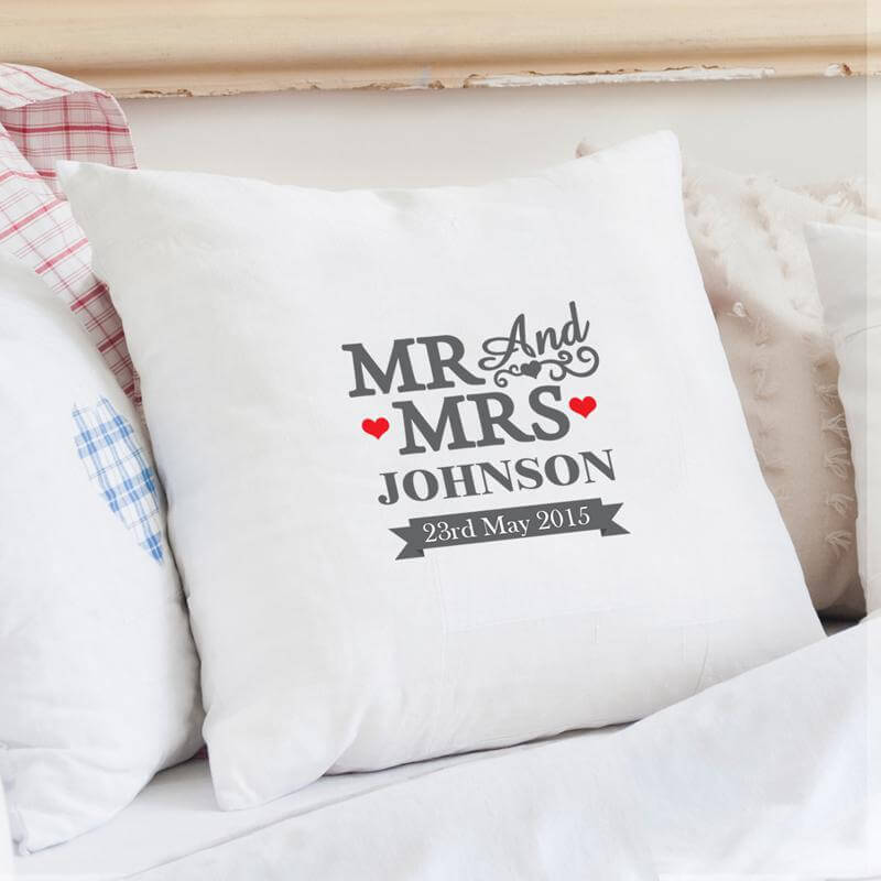Personalised Mr Mrs Cushion Cover Buy From Prezzybox Stunning Personalised Pillow Covers
