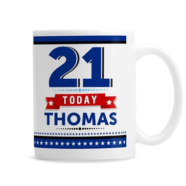Personalised 21st Birthday Star Mug