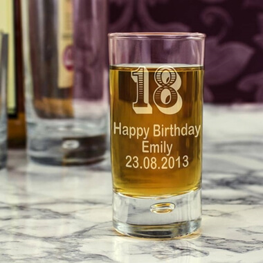 Personalised 18th Birthday Shot Glass