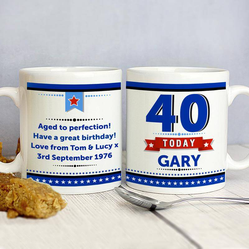 Personalised 40th Birthday Star Mug