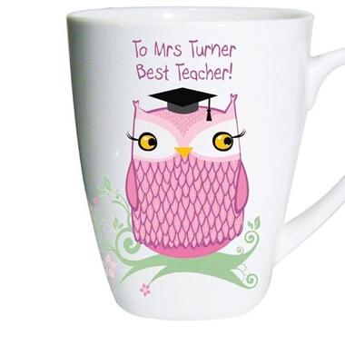 Personalised Miss Owl Teacher Latte Mug