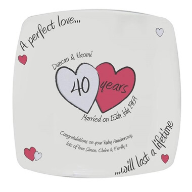 Personalised Ruby Wedding Anniversary Plate