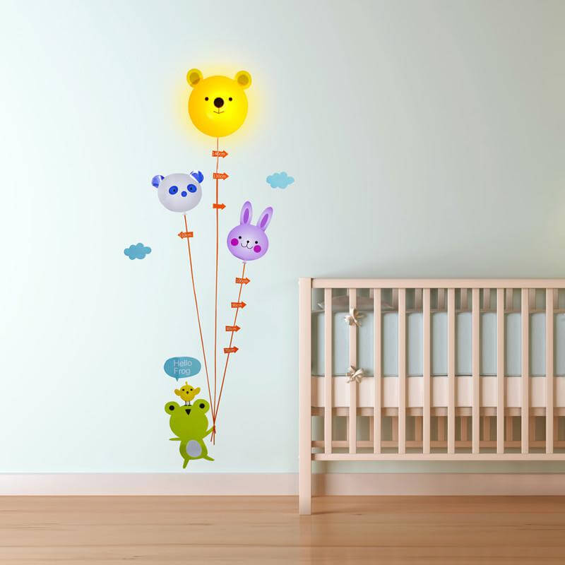 Image of Animal Height Chart Light With Wall Sticker
