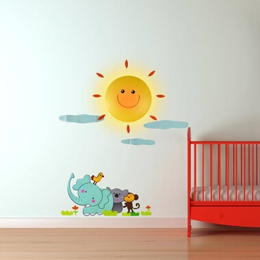 Sunshine Wall Light & Animal Wall Sticker