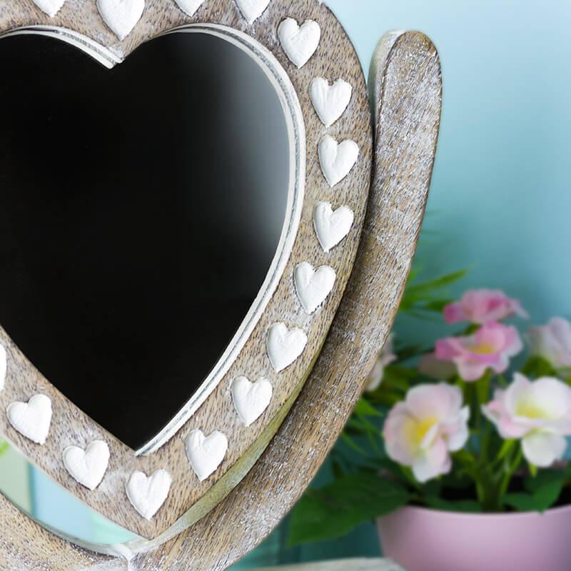 Wooden Heart Mirror Dressing Table Jewellery Box