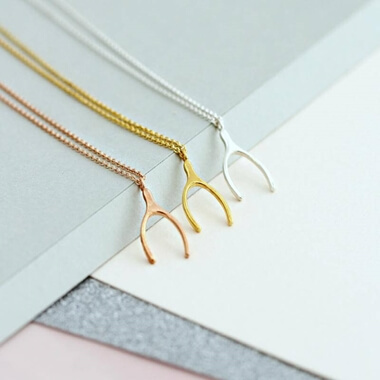 Personalised 9ct Gold Lucky Wishbone Necklace