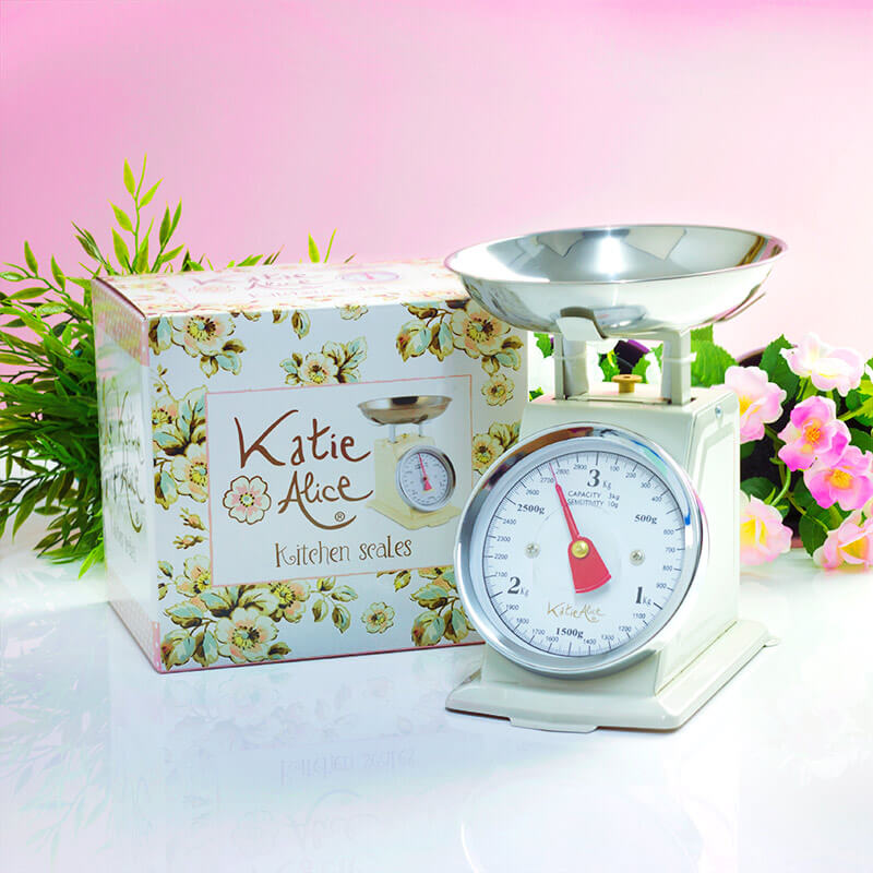 Katie Alice Cottage Flower Cookware Vintage Scales