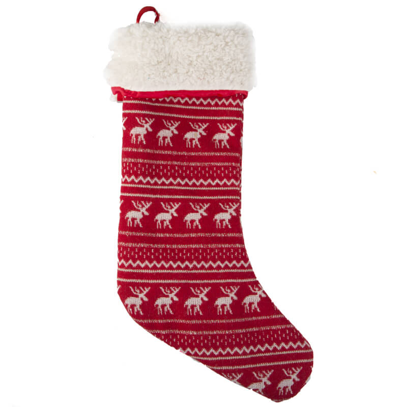 Fair Isle Christmas Stocking with Fleece Red