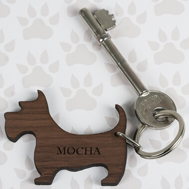 Personalised Wooden Dog Keyring