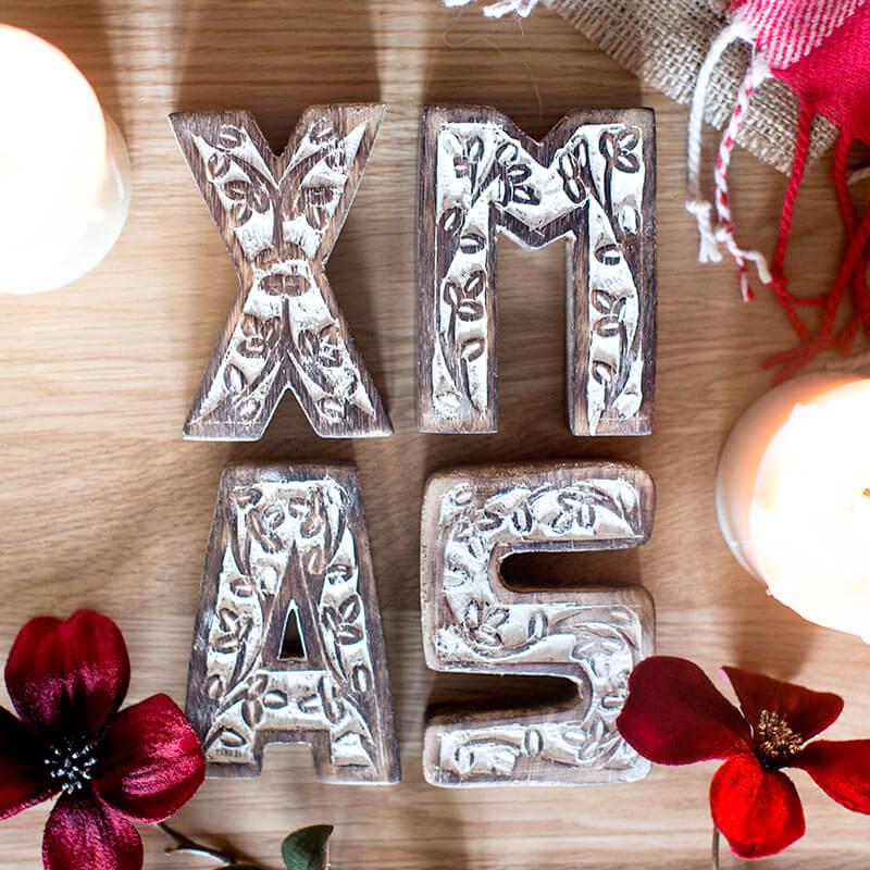 Carved Wooden Xmas Block Letter Set
