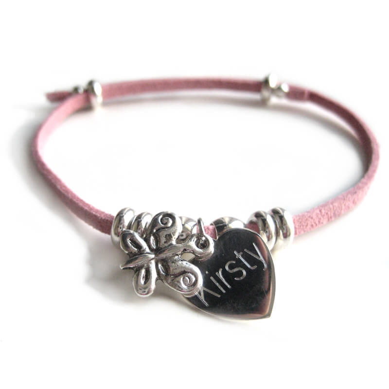 Personalised Suede Butterfly Bracelet