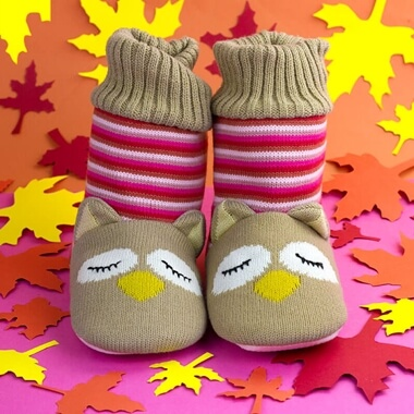 Owl Knitted Booties
