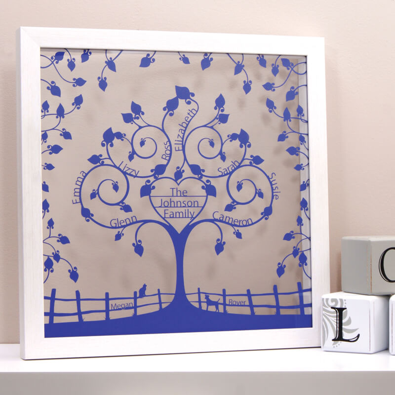Personalised Floral Heart Family Tree
