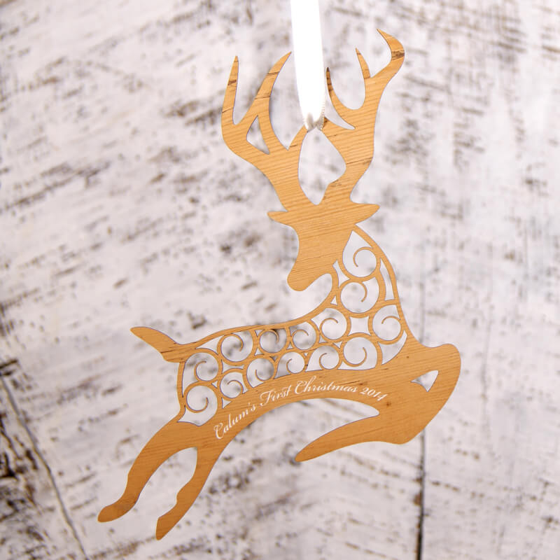 Personalised Flying Reindeer Decoration