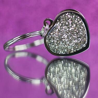 Personalised Diamante Heart Keyring