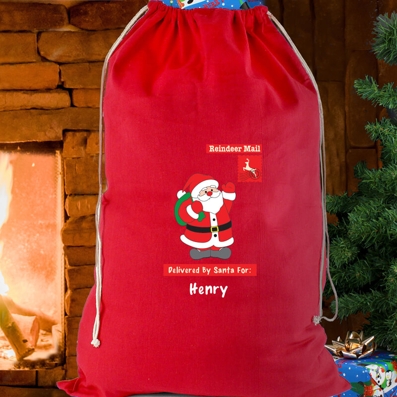Personalised Father Christmas Red Cotton Sack