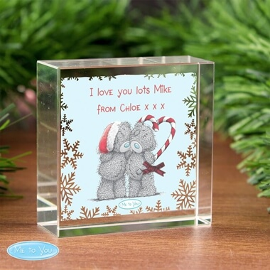 Personalised Me To You Christmas Crystal Token